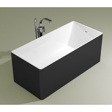 Flaminia WASH 170 vasca 170 cm in pietraluce, freestanding, interno colore bianco finitura lucido, esterno colore carbone finitura opaco MW170CAB