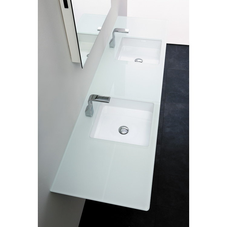 Flaminia FLY piano in cristallo extra light verniciato L.80 cm, per lavabo Miniwash 40 sottopiano (art. MW40SP), colore bianco finitura lucido FY40PC+MW40SP