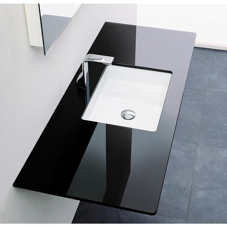 Flaminia FLY piano in cristallo extra light verniciato L.80 cm, per lavabo Miniwash 48 sottopiano (art. MW48SP), colore nero finitura lucido FY48PCNE