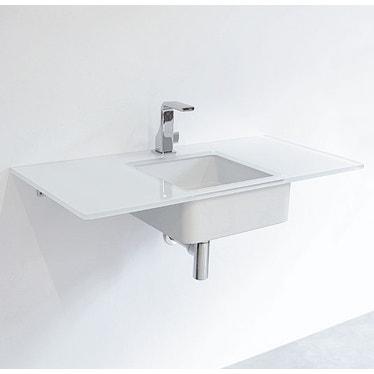 Flaminia FLY piano in cristallo extra light verniciato L.80 cm, per lavabo Miniwash 40 sottopiano (art. MW40SP), colore bianco finitura lucido FY40PC