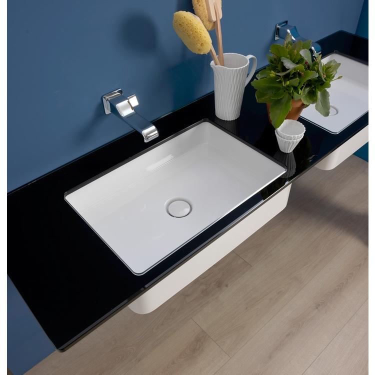 Flaminia FLY piano in cristallo extra light verniciato L.100 cm, per lavabo Miniwash 60 sottopiano (art. MW60SP), colore nero finitura lucido FY60PCNE+MW60SP
