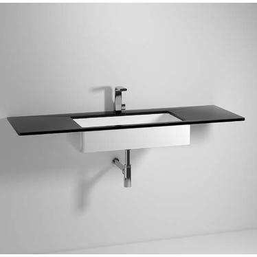 Flaminia FLY piano in cristallo extra light verniciato L.100 cm, per lavabo Miniwash 75 sottopiano (art. MW75SP), colore nero finitura lucido FY75PC+MW75SP