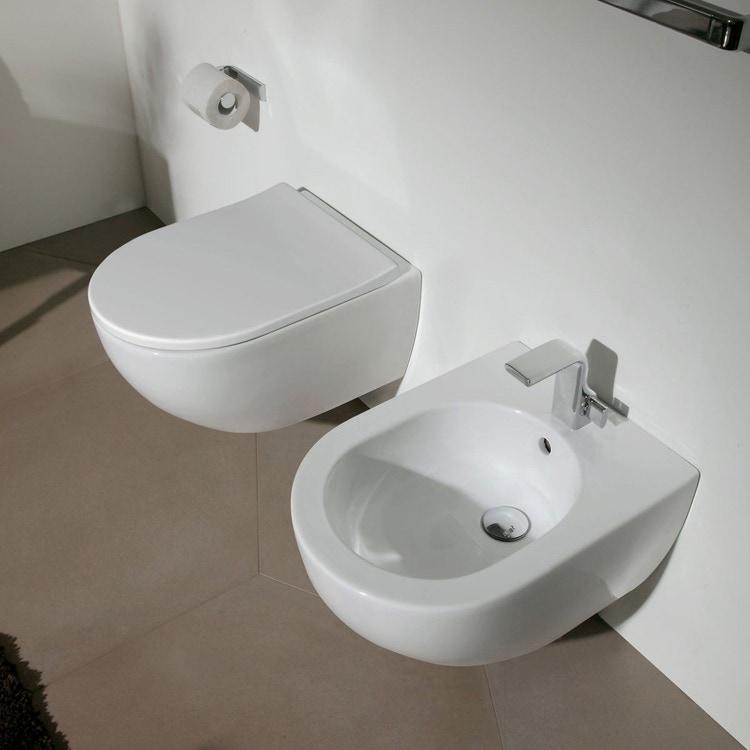 Flaminia MINIAPP set sanitari sospesi, vaso con sistema goclean® e coprivaso slim con discesa rallentata, bidet monoforo con troppopieno, colore bianco finitura lucido AP119G+AP219+QKCW09