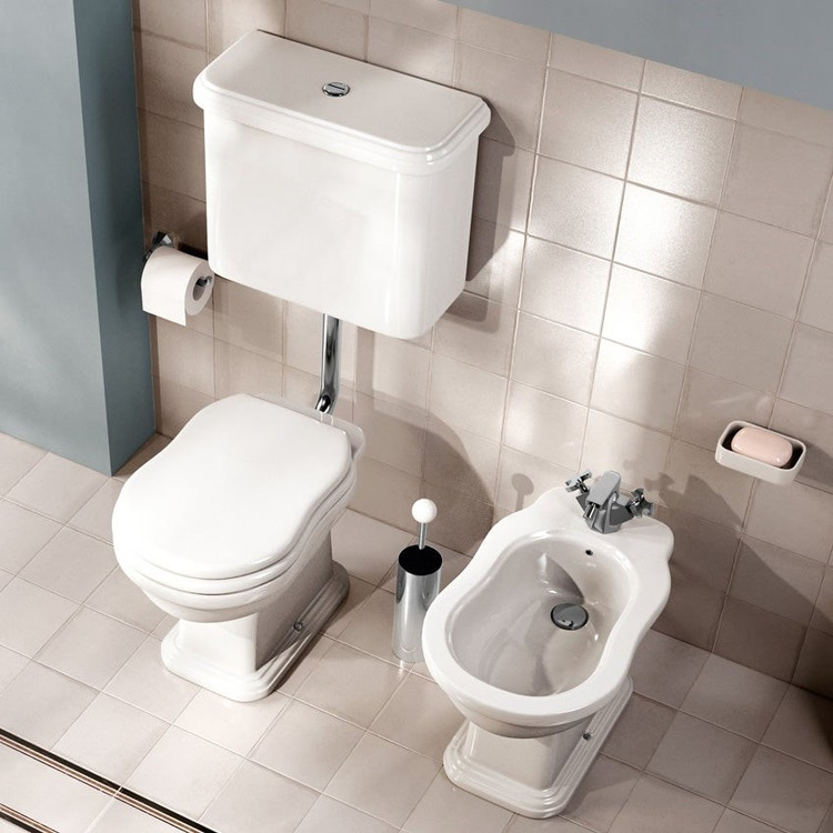 Flaminia EFI set sanitari a pavimento, vaso con scarico a pavimento, cassetta di scarico a zaino e coprivaso con discesa rallentata, colore bianco finitura lucido 6010+6004+6005+23/CR