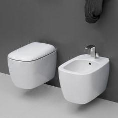 Immagine di Flaminia MONÒ set sanitari sospesi, vaso e coprivaso avvolgente con discesa rallentata, bidet monoforo con troppopieno, colore bianco finitura lucido MN118+MN218+MNCW03