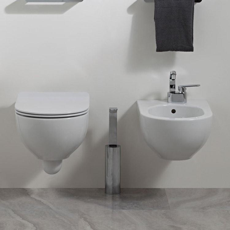 Flaminia QUICK set sanitari sospesi, vaso e coprivaso avvolgente con discesa rallentata, bidet monoforo con troppopieno, colore bianco finitura lucido QK118+QK218+QKCW07