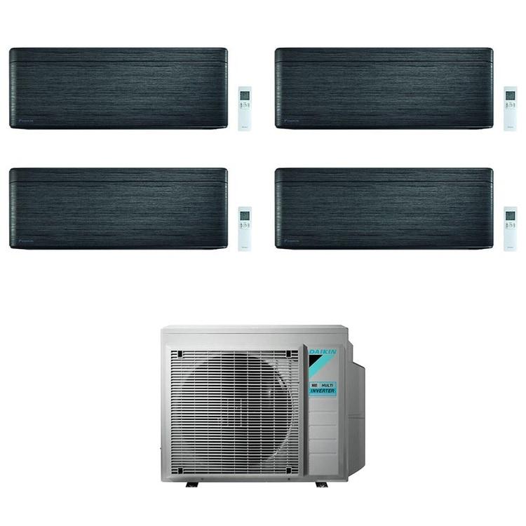 Daikin STYLISH R32 Climatizzatore a parete quadri split inverter Wi-Fi blackwood | unità esterna 7.4 kW unità interne 5000+5000+9000+18000 BTU 4MXM80N9+CTXA[15|15]BT+FTXA[25|50]BT