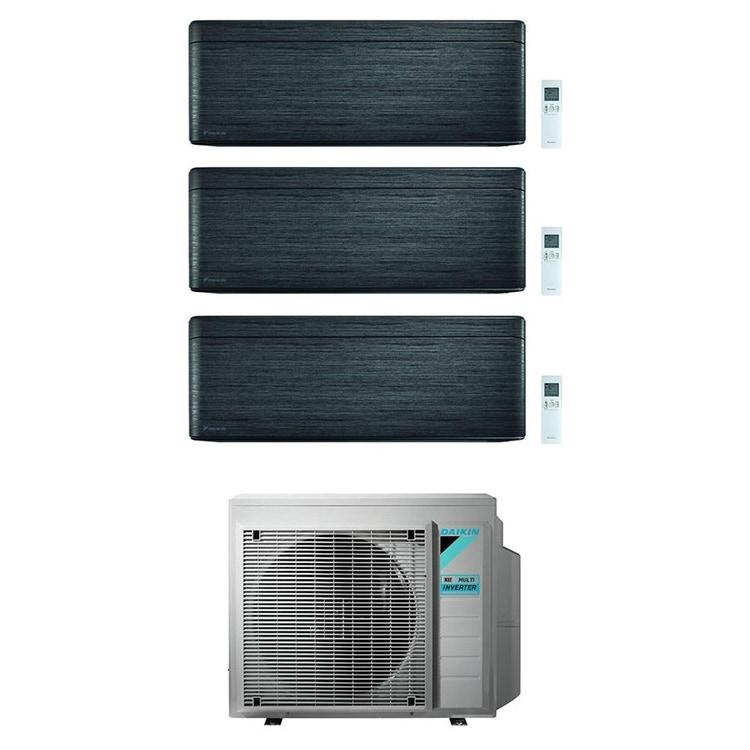 Daikin STYLISH R32 Climatizzatore a parete trial split inverter Wi-Fi blackwood | unità esterna 6.8 kW unità interne 9000+12000+15000 BTU 3MXM68N9+FTXA[25|35|42]BT
