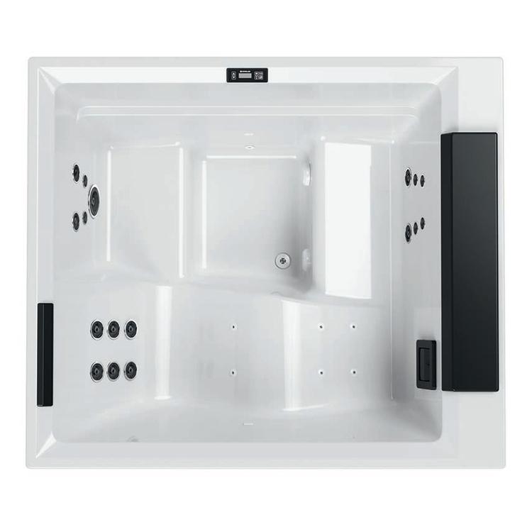 Novellini DIVINA L SPA STANDARD minipiscina idromassaggio da esterno con luci led bianche+purificazione UV, L.185 P.160 H.85, per 3 persone, sedile colore nero, vasca colore bianco finitura lucido DOL5O-3-W10H