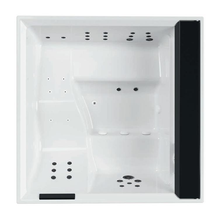 Novellini DIVINA XL SPA PLUS minipiscina idromassaggio da esterno con luci led bianche+purificazione Aquaclean (UV+ozono), L.200 P.200 H.85, per 4 persone, sedile e poggiatesta colore nero, vasca colore bianco finitura lucido DOXL4O-8-W10H