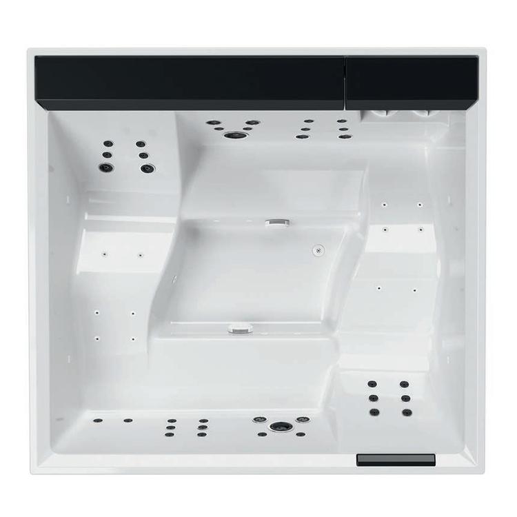 Novellini DIVINA XXL SPA STANDARD minipiscina idromassaggio da esterno con cromolight+audio Bluetooth+UV, L.230 P.215 H.85, per 6 persone, sedile colore nero, vasca colore bianco finitura lucido DOXXL5O-6-W10