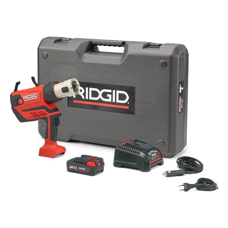 Immagine di Ridgid RP 350-B Pressatrice a pistola a batteria senza ganasce con caricabatterie rapido 220 V, batteria a Li-Ion 18 V 2.5 Ah e cassetta di trasporto 67088