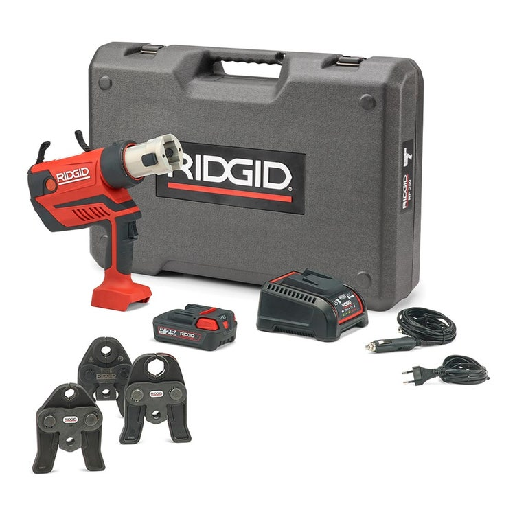 Immagine di Ridgid RP 350-B Pressatrice a pistola a batteria completo di ganasce TH 16-20-26 mm, caricabatterie rapido 220 V, batteria a Li-Ion 18 V 2.5 Ah e cassetta di trasporto 67108