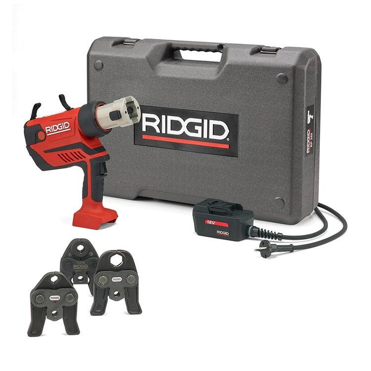Immagine di Ridgid RP 350-C Pressatrice a pistola a cavo completo di ganasce V 15-18-22 mm, adattatore per alimentazione 220 V (con cavo da 5 m) e cassetta di trasporto 67128