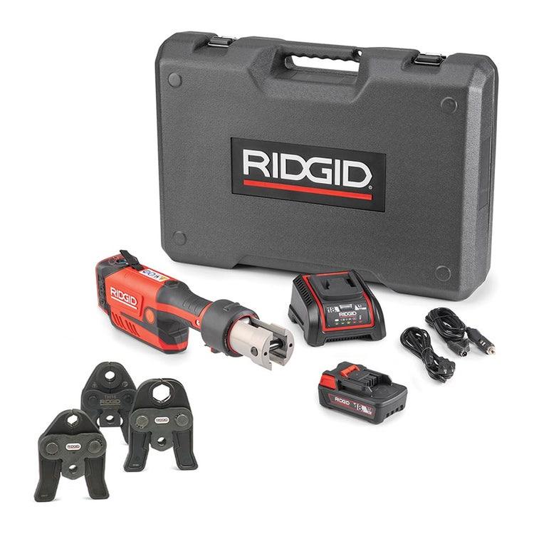 Immagine di Ridgid RP 351-B Pressatrice in linea a batteria completo di ganasce TH 16-20-26 mm, caricabatterie rapido 220 V, batteria a Li-Ion 18 V 2.5 Ah e cassetta di trasporto 67248