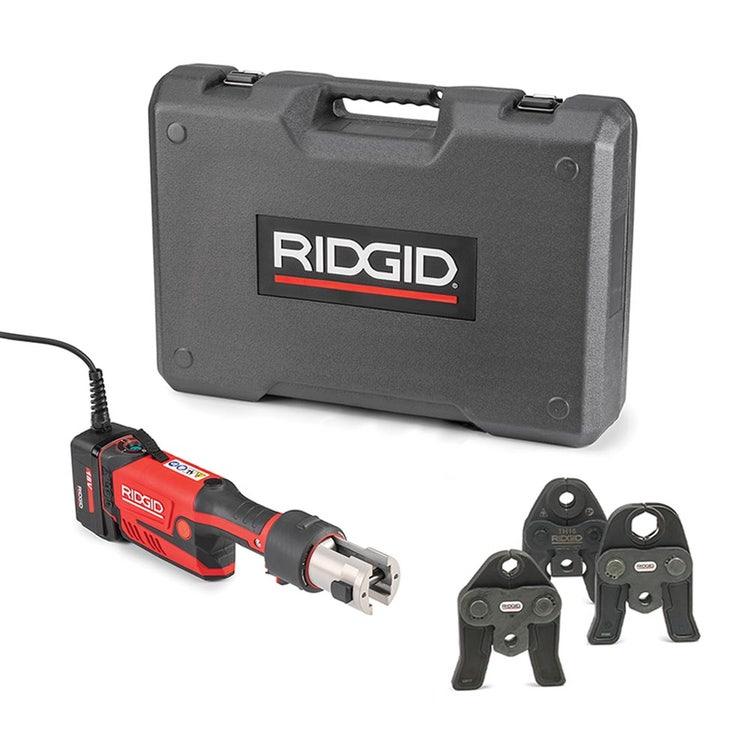 Immagine di Ridgid RP 351-C Pressatrice in linea a cavo completo di ganasce V 18-22-28 mm, adattatore per alimentazione 220 V (con cavo da 5 m) e cassetta di trasporto 67278