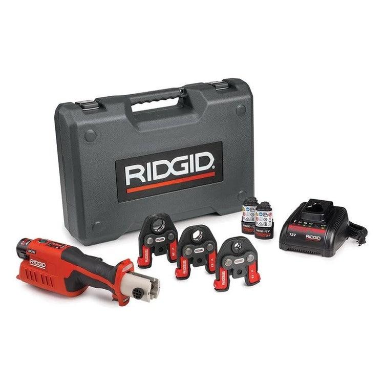Immagine di Ridgid RP 241 Pressatrice in linea a batteria completo di ganasce V 14-16-22 mm, caricabatterie veloce, 2 batterie Litio Advanced 12 V 2.5 Ah e cassetta 59168