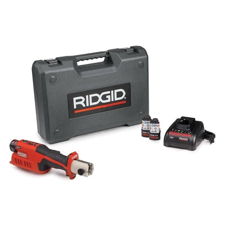 Immagine di Ridgid RP 241 Pressatrice in linea a batteria senza ganasce con caricabatterie veloce, 2 batterie Litio Advanced 12 V 2.5 Ah e cassetta 59188