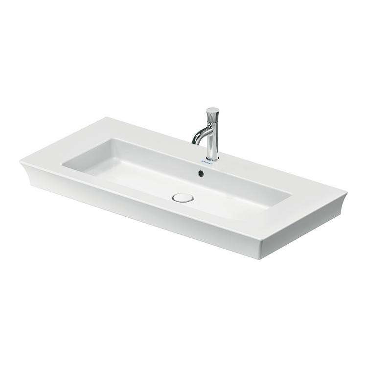 Duravit WHITE TULIP lavabo consolle 105 cm, monoforo, con troppopieno e bordo per rubinetteria, Wondergliss, colore bianco 23631000001