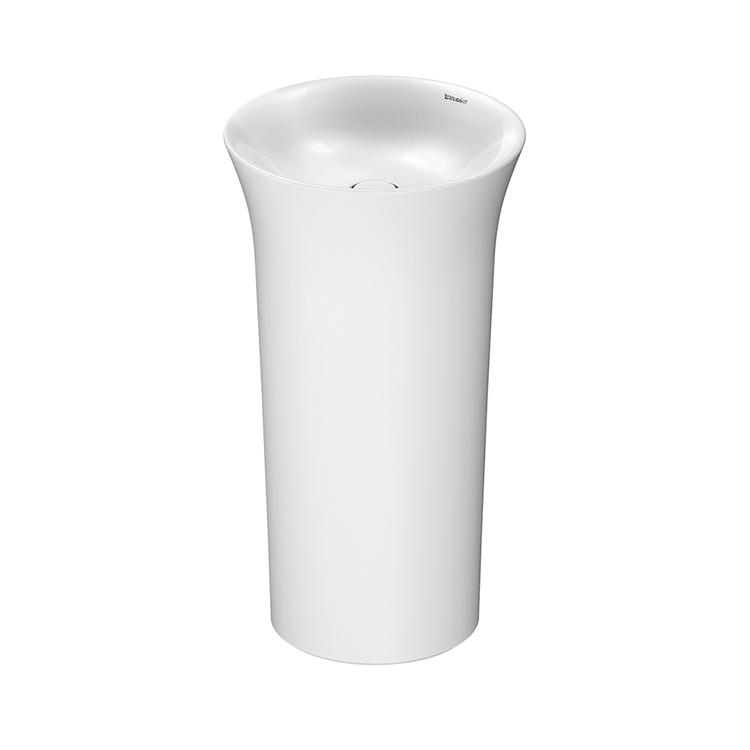 Duravit WHITE TULIP lavabo freestanding Ø 50 cm, con rettifica, senza troppopieno, con apertura per allacciamento a parete, colore bianco 2702500070