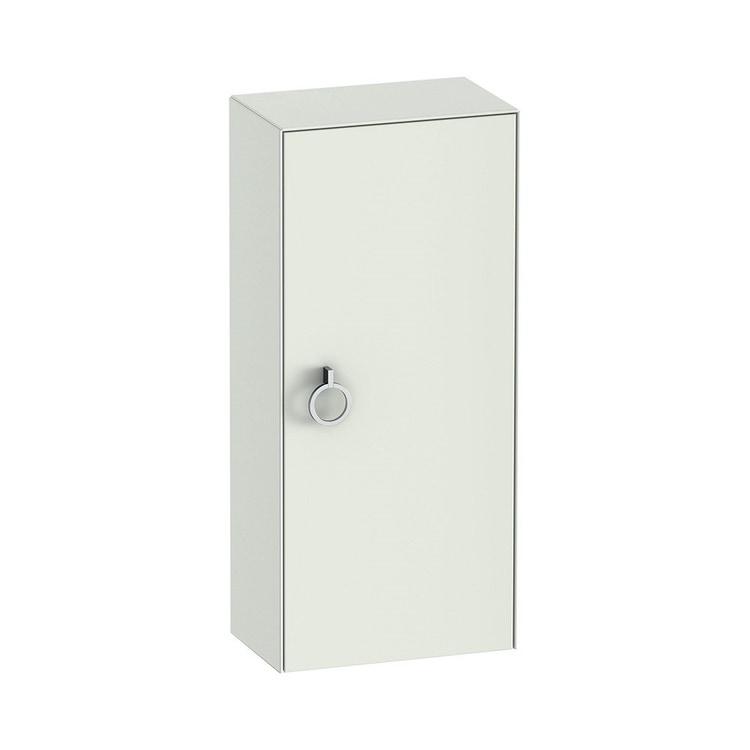 Duravit WHITE TULIP colonna bassa H.88 cm, 1 anta con cerniera a sinistra e 2 ripiani in vetro con supporti in alluminio, frontale e corpo colore bianco finitura opaco WT1323L3636