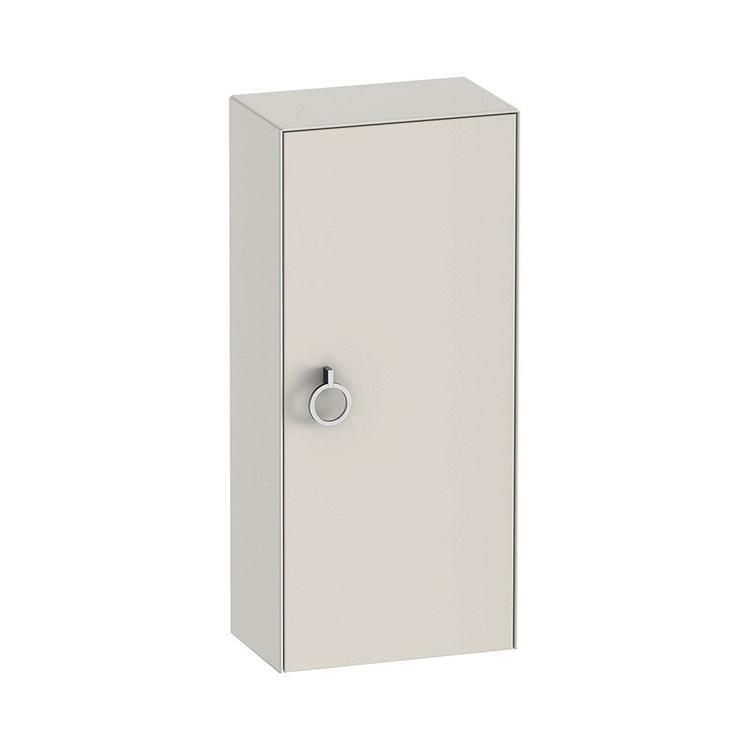 Duravit WHITE TULIP colonna bassa H.88 cm, 1 anta con cerniera a sinistra e 2 ripiani in vetro con supporti in alluminio, frontale e corpo colore bianco nordic finitura opaco WT1323L3939