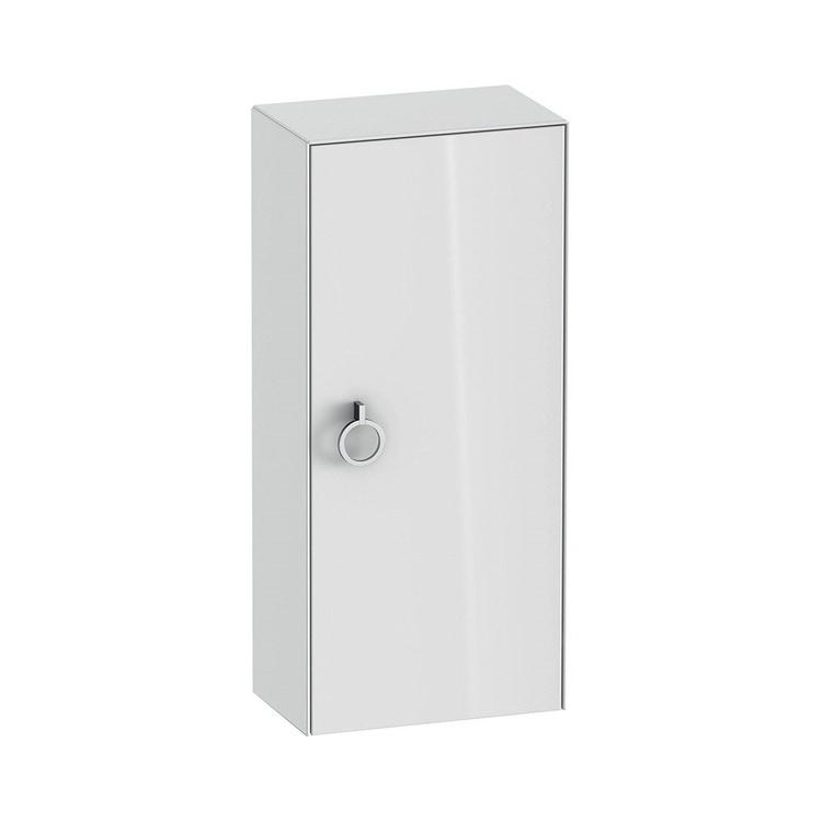Duravit WHITE TULIP colonna bassa H.88 cm, 1 anta con cerniera a sinistra e 2 ripiani in vetro con supporti in alluminio, frontale e corpo colore bianco finitura lucido WT1323L8585