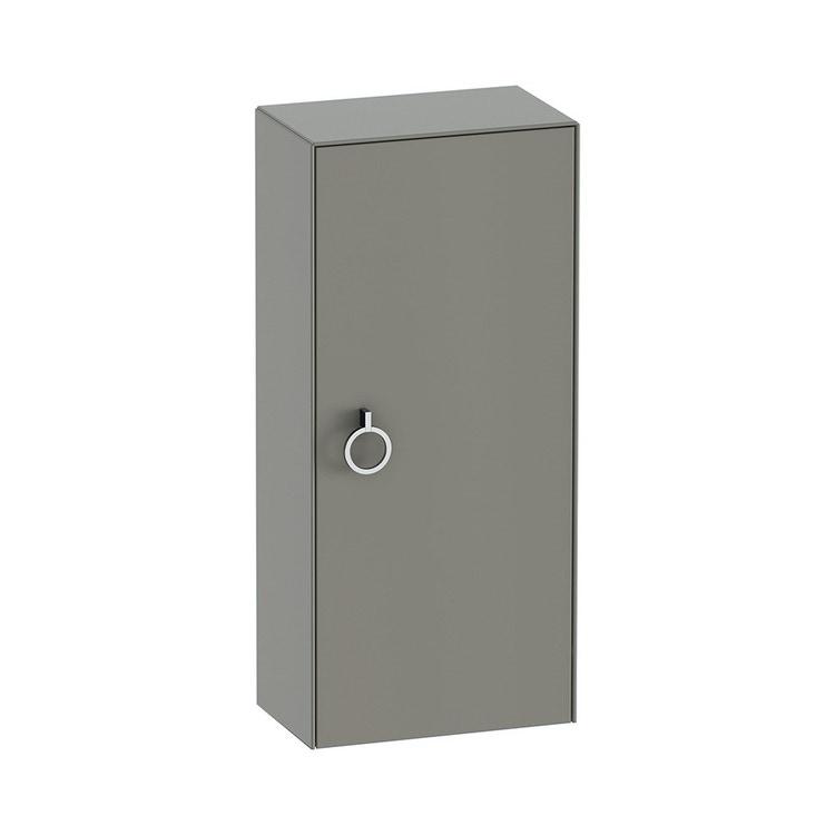 Duravit WHITE TULIP colonna bassa H.88 cm, 1 anta con cerniera a sinistra e 2 ripiani in vetro con supporti in alluminio, frontale e corpo colore grigio pietra finitura opaco WT1323L9292