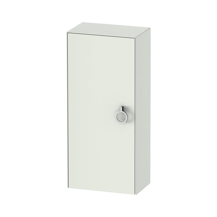 Duravit WHITE TULIP colonna bassa H.88 cm, 1 anta con cerniera a destra e 2 ripiani in vetro con supporti in alluminio, frontale e corpo colore bianco finitura opaco WT1323R3636
