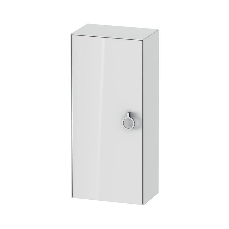 Duravit WHITE TULIP colonna bassa H.88 cm, 1 anta con cerniera a destra e 2 ripiani in vetro con supporti in alluminio, frontale e corpo colore bianco finitura lucido WT1323R8585