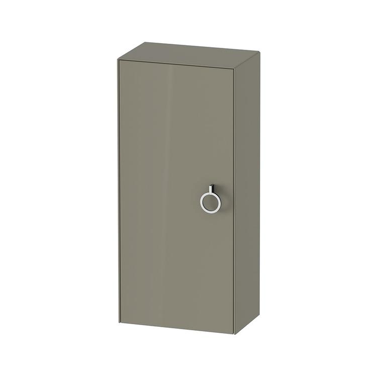Duravit WHITE TULIP colonna bassa H.88 cm, 1 anta con cerniera a destra e 2 ripiani in vetro con supporti in alluminio, frontale e corpo colore grigio pietra finitura lucido WT1323RH2H2