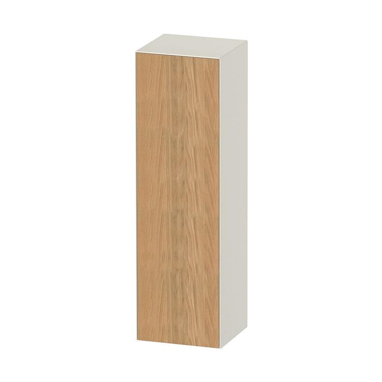 Duravit WHITE TULIP colonna bassa H.132 cm, 1 anta con cerniera a sinistra e 3 ripiani in vetro con supporti in alluminio, frontale in legno massello finitura rovere naturale, corpo colore bianco nordic finitura lucido WT1332LH5H4