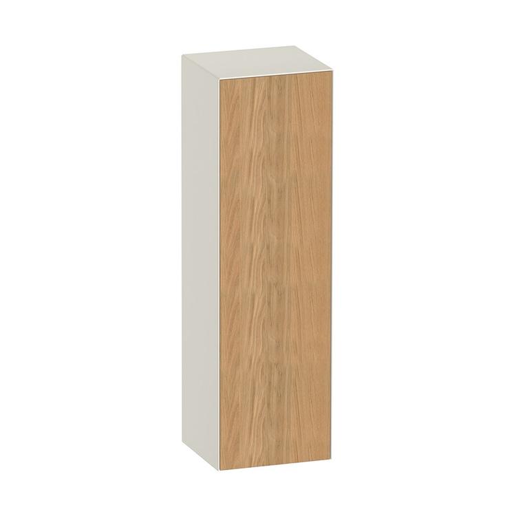 Duravit WHITE TULIP colonna bassa H.132 cm, 1 anta con cerniera a destra e 3 ripiani in vetro con supporti in alluminio, frontale in legno massello finitura rovere naturale, corpo colore bianco nordic finitura lucido WT1332RH5H4