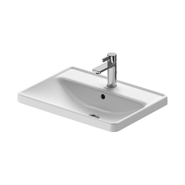Duravit D-NEO lavabo da incasso soprapiano 60 cm monoforo, con troppopieno, con bordo per rubinetteria, colore bianco 0357600027