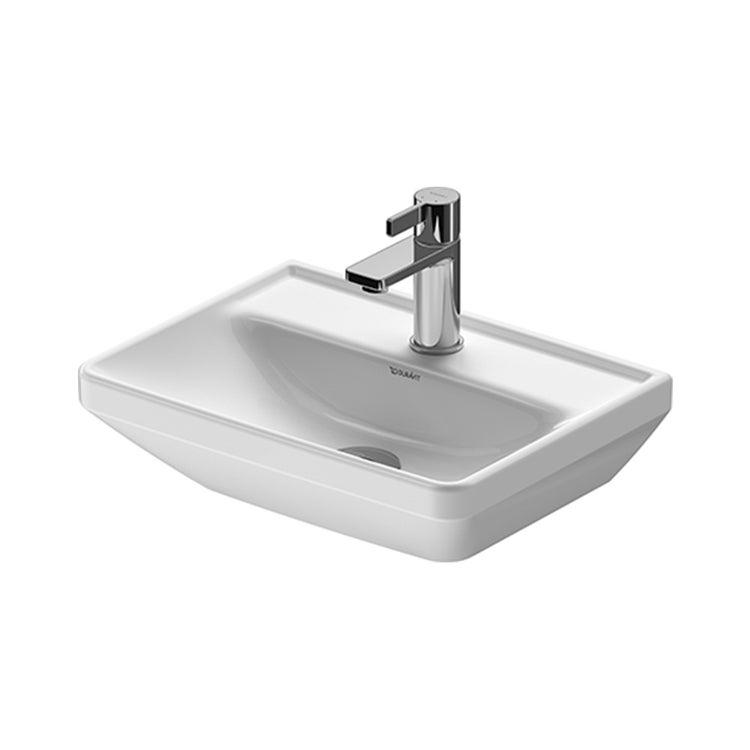 Duravit D-NEO lavamani 45 cm monoforo, senza troppopieno, con bordo per rubinetteria, lato inferiore smaltato, colore bianco 0738450041