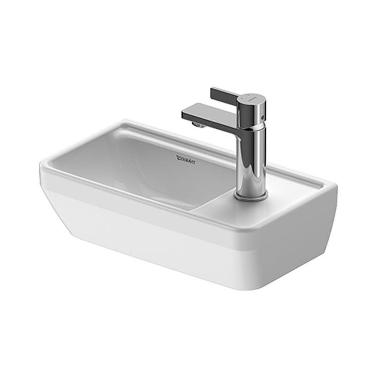 Duravit D-NEO lavamani 40 cm, senza troppopieno, con bordo per rubinetteria, monoforo per rubinetteria a destra, lato inferiore smaltato, colore bianco 0739400041