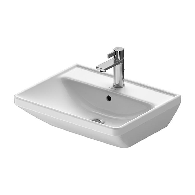 Duravit D-NEO lavabo 55 cm monoforo, con troppopieno, con bordo per rubinetteria, lato inferiore smaltato, Wondergliss, colore bianco 23665500001