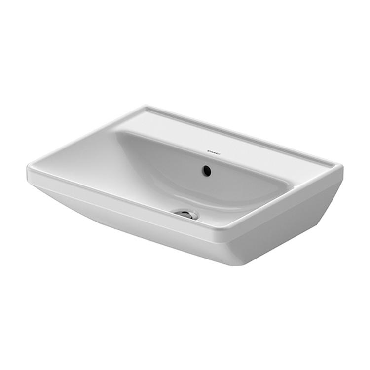 Duravit D-NEO lavabo 55 cm, con troppopieno, lato inferiore smaltato, Wondergliss, colore bianco 23665500601