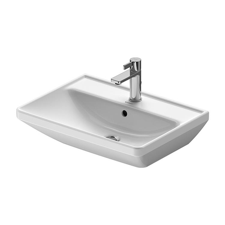 Duravit D-NEO lavabo 60 cm monoforo, con troppopieno, con bordo per rubinetteria, lato inferiore smaltato, colore bianco 2366600000