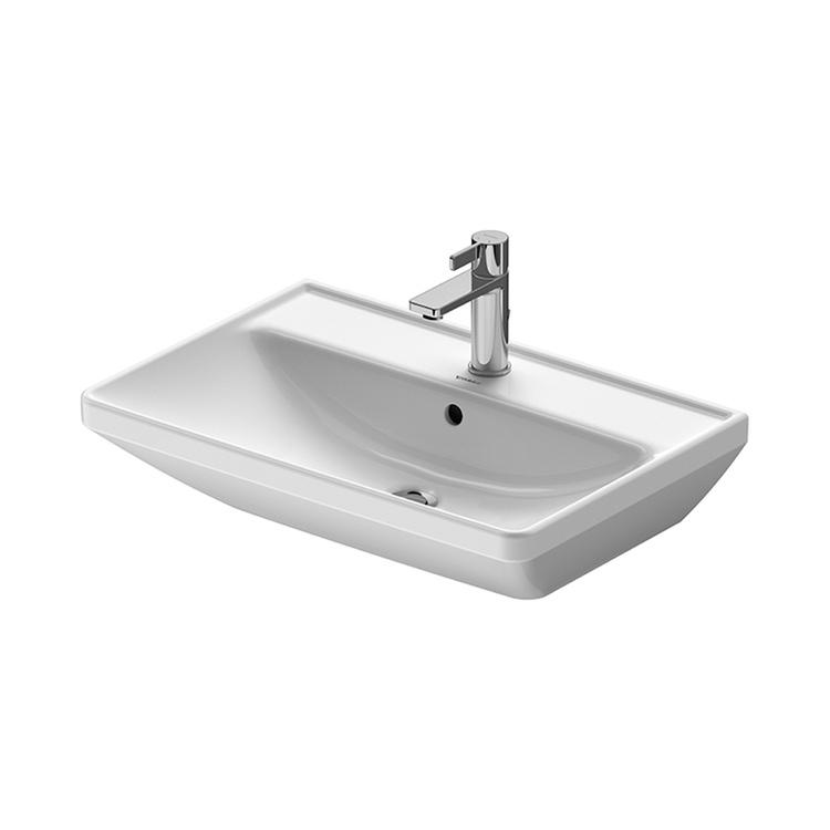 Duravit D-NEO lavabo 65 cm monoforo, con troppopieno, con bordo per rubinetteria, lato inferiore smaltato, colore bianco 2366650000