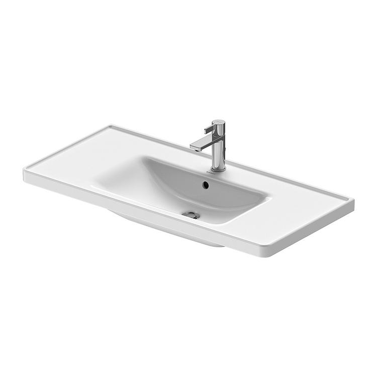 Duravit D-NEO lavabo consolle 105 cm monoforo, con troppopieno, con bordo per rubinetteria, lato inferiore smaltato, colore bianco 2367100000