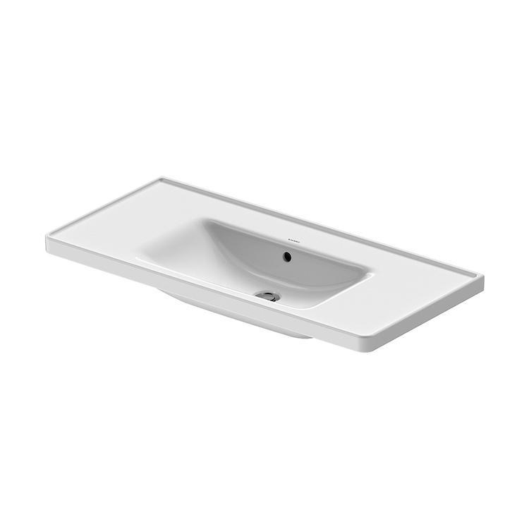 Duravit D-NEO lavabo consolle 105 cm, con troppopieno, lato inferiore smaltato, Wondergliss, colore bianco 23671000601