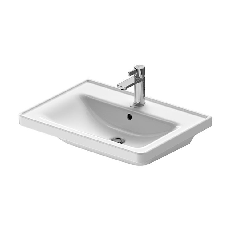 Duravit D-NEO lavabo consolle 65 cm monoforo, con troppopieno, con bordo per rubinetteria, lato inferiore smaltato, Wondergliss, colore bianco 23676500001