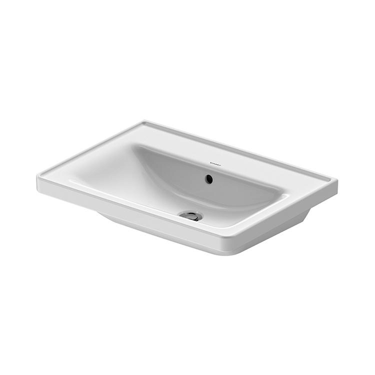 Duravit D-NEO lavabo consolle 65 cm, con troppopieno, lato inferiore smaltato, Wondergliss, colore bianco 23676500601