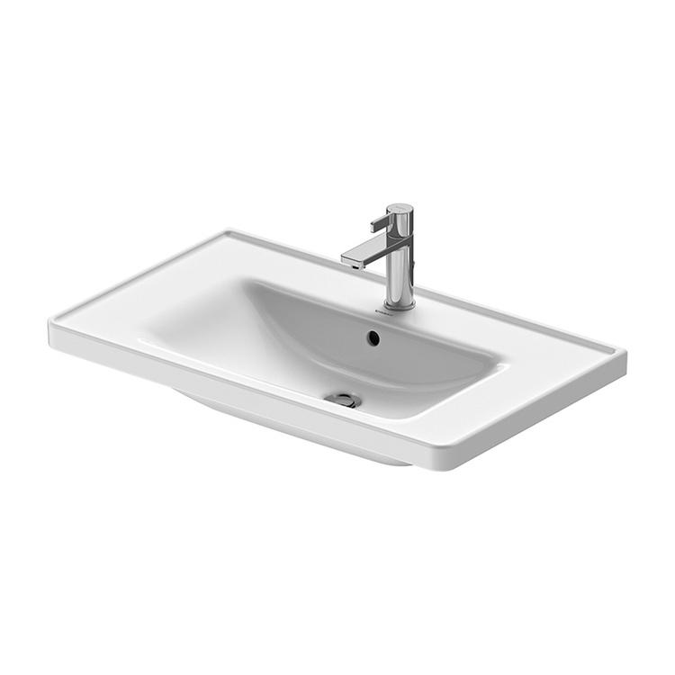 Duravit D-NEO lavabo consolle 80 cm monoforo, con troppopieno, con bordo per rubinetteria, lato inferiore smaltato, colore bianco 2367800000