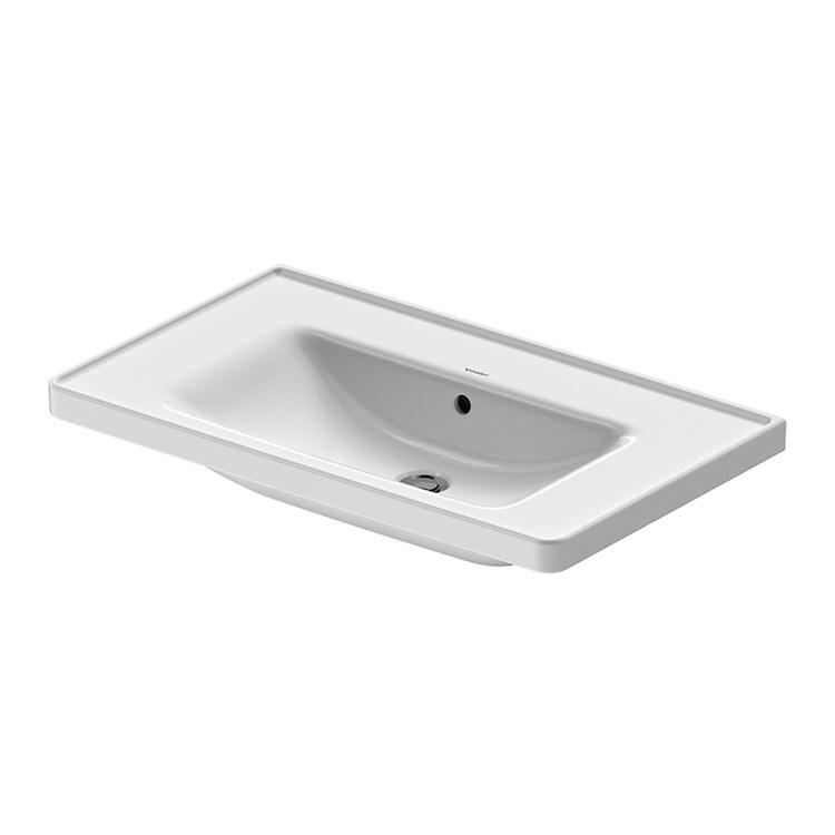 Duravit D-NEO lavabo consolle 80 cm, con troppopieno, lato inferiore smaltato, colore bianco 2367800060