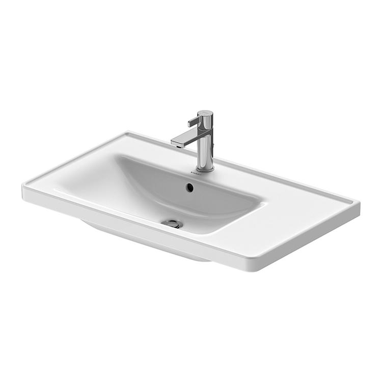 Duravit D-NEO lavabo consolle asimmetrico 80 cm monoforo, con troppopieno, con bordo per rubinetteria, lato inferiore smaltato, bacino a sinistra, Wondergliss, colore bianco 23698000001
