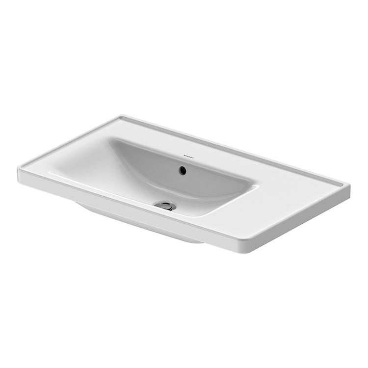 Duravit D-NEO lavabo consolle asimmetrico 80 cm, con troppopieno, lato inferiore smaltato, bacino a sinistra, Wondergliss, colore bianco 23698000601