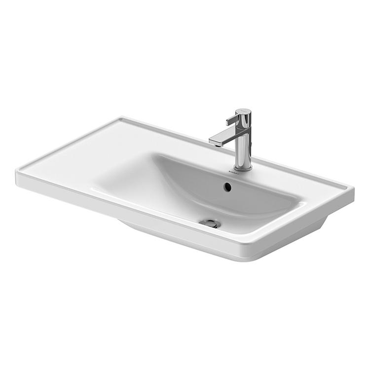 Duravit D-NEO lavabo consolle asimmetrico 80 cm monoforo, con troppopieno, con bordo per rubinetteria, lato inferiore smaltato, bacino a destra, colore bianco 2370800000