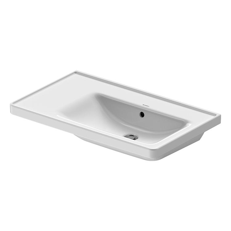 Duravit D-NEO lavabo consolle asimmetrico 80 cm, con troppopieno, lato inferiore smaltato, bacino a destra, Wondergliss, colore bianco 23708000601